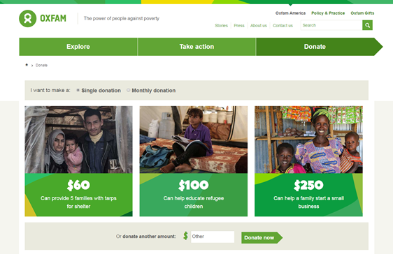 donation page example oxfam america
