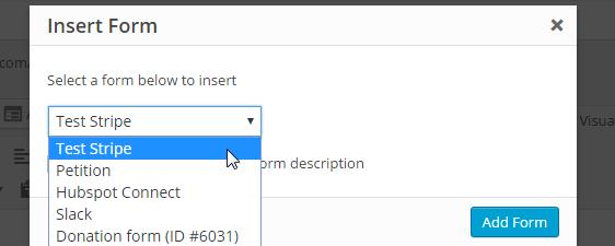 publish stripe form