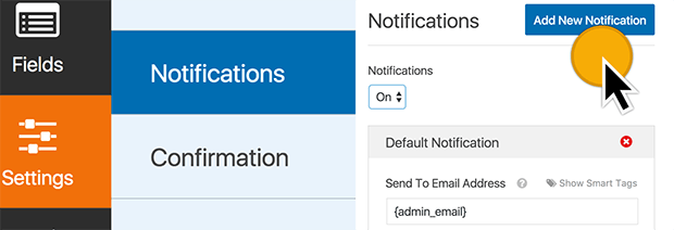 Settings Notifications Add New Notification