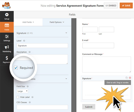set your signature field as required