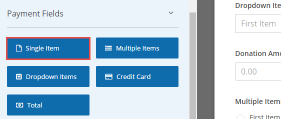 single items field to enter donation amount