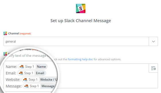 slack channel message