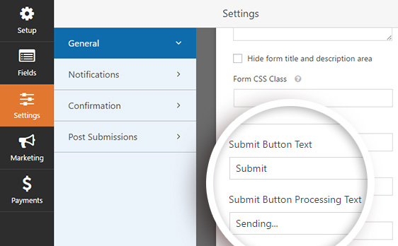 Customizing the submit button text