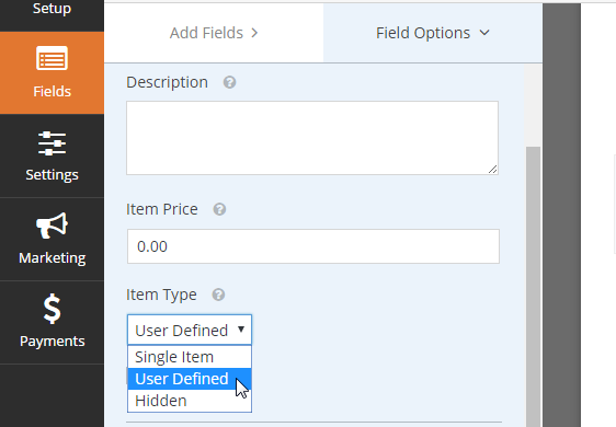 user defined item field