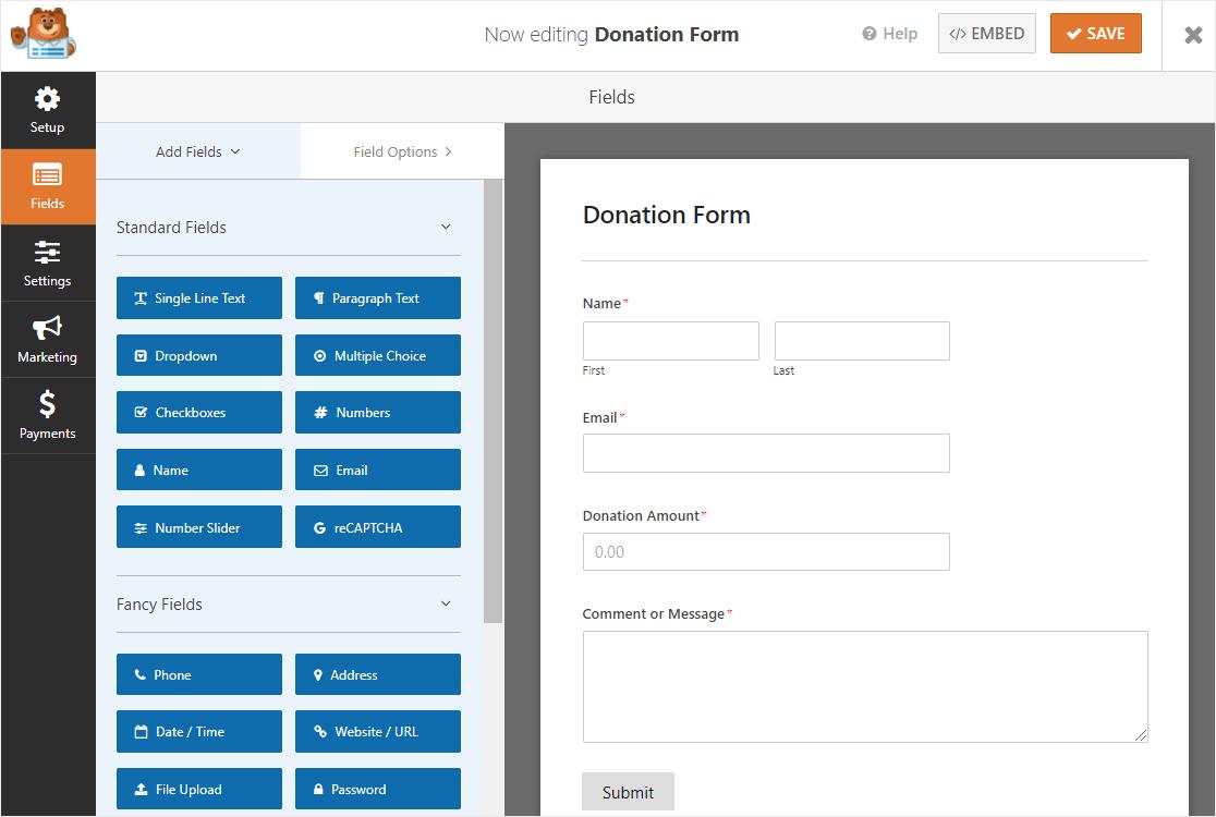 wpforms donation form template