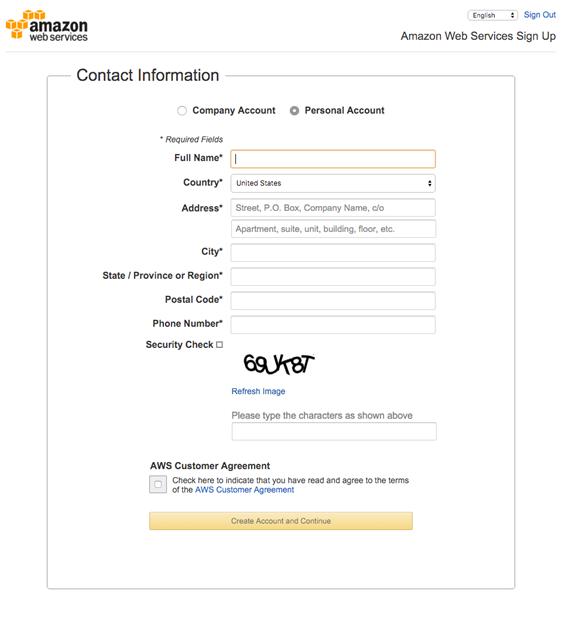 enter contact information for aws