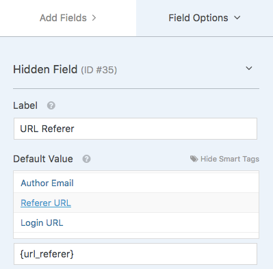 Hidden field for URL Referer