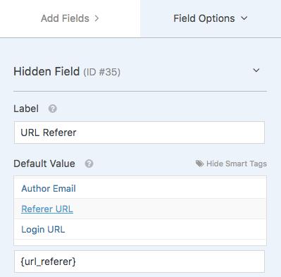 Hidden field for URL Referer
