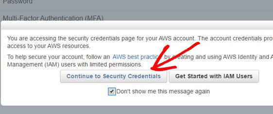 security credentials amazon ses