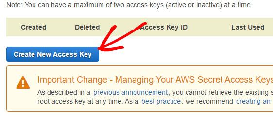 create new access key