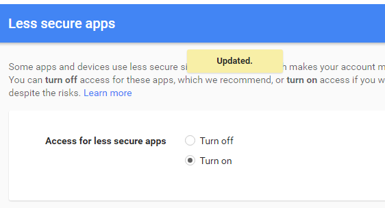 gmail less secure apps to enable smtp