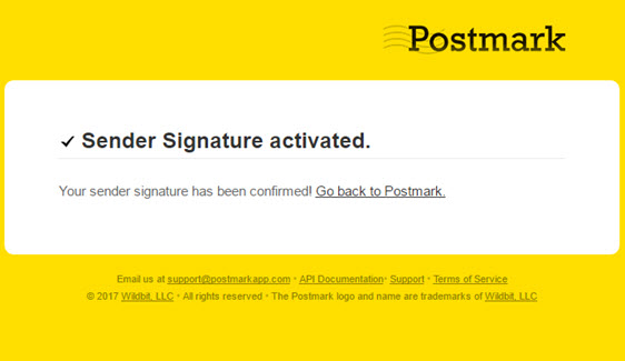 postmark sender signature activated
