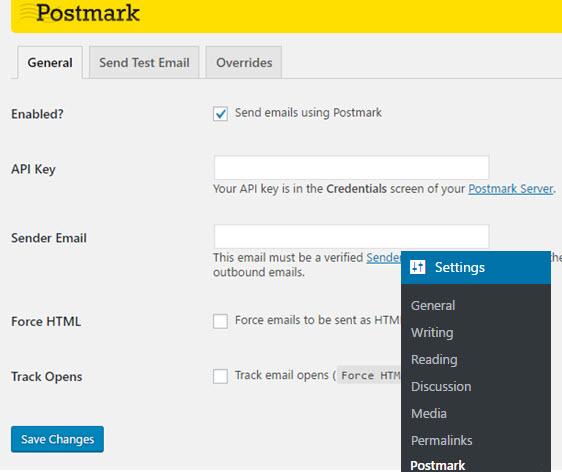 postmark general settings