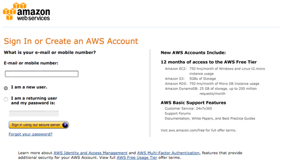 create an account for AWS
