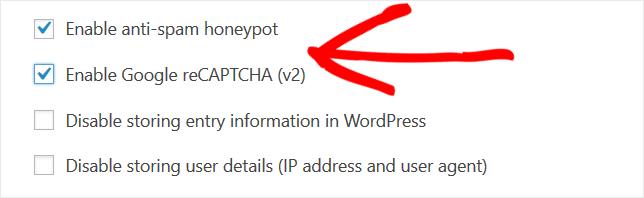 spam prevention settings