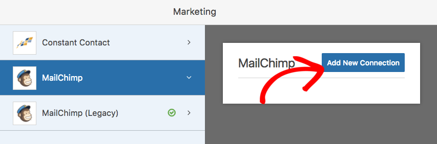 Add new connection to new MailChimp