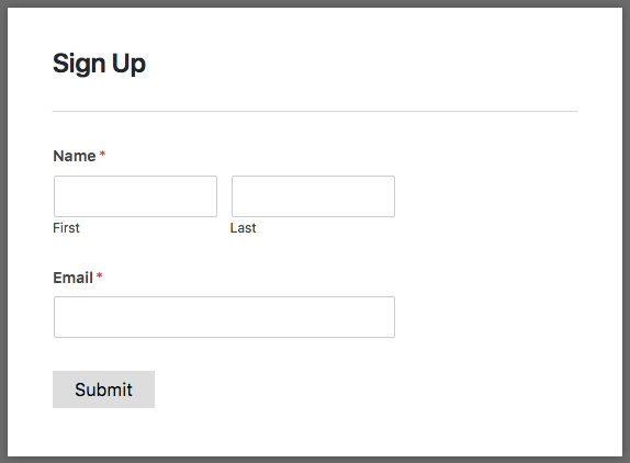 Basic signup form