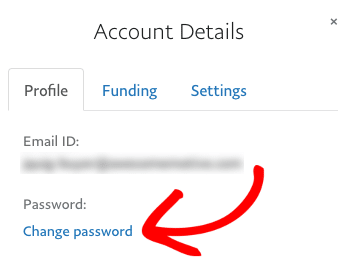 Change password on your test PayPal account