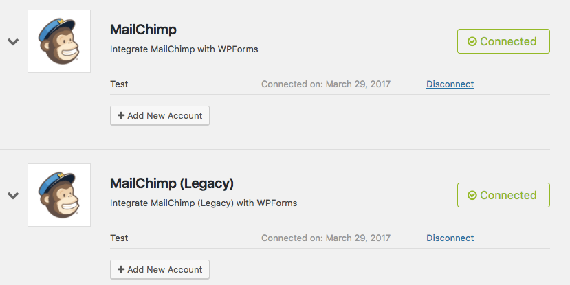 Connected MailChimp integrations