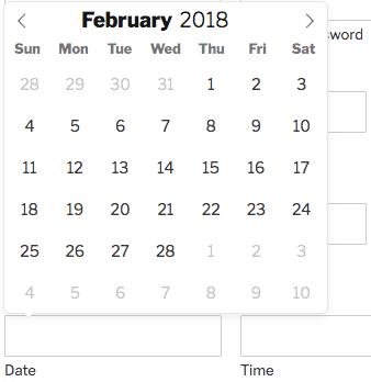 Date picker calendar
