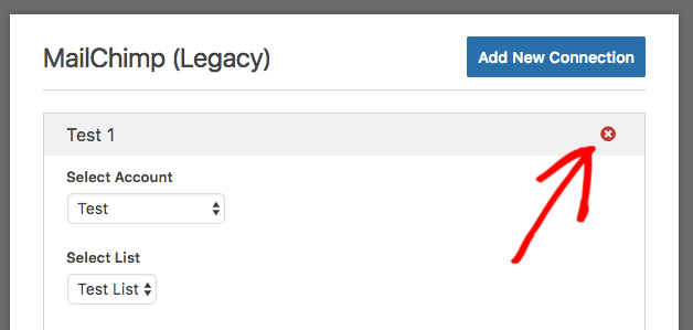 Delete legacy connection for MailChimp
