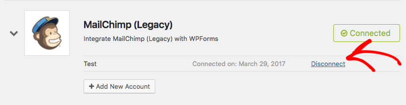 Disconnect legacy MailChimp connection