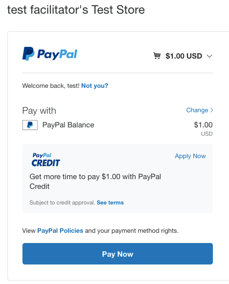 PayPal Order Summary page