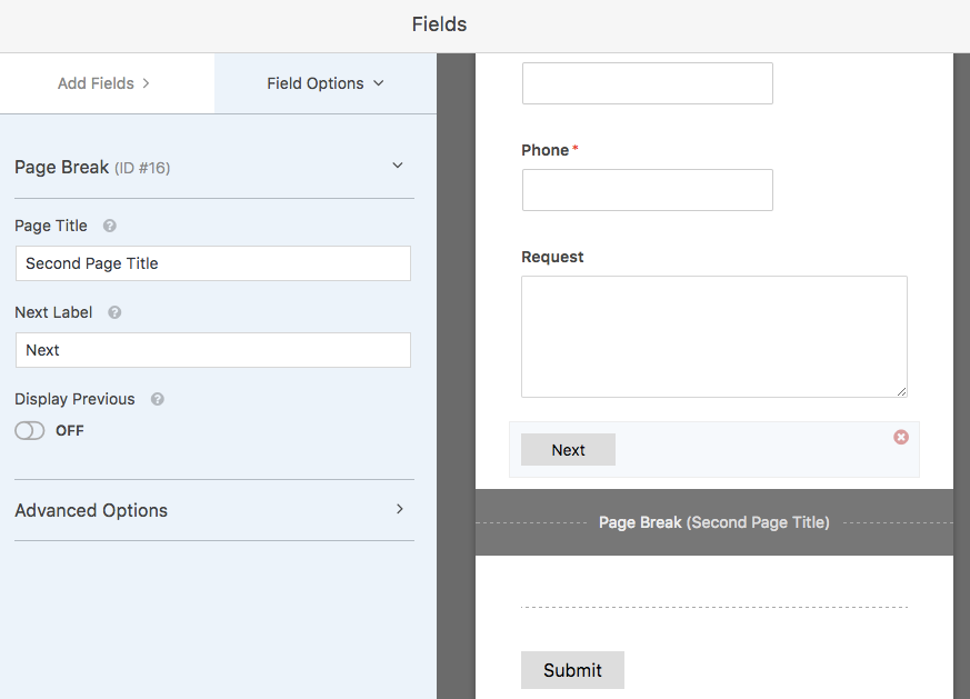 WPForms page break field options