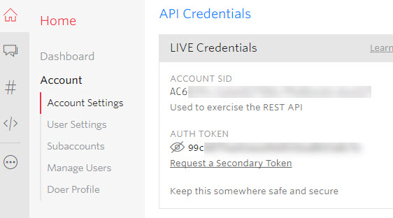 api credentials in twilio