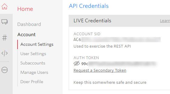 api credentials in twilio