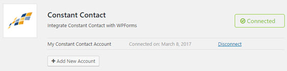 constant contact connected with wpforms