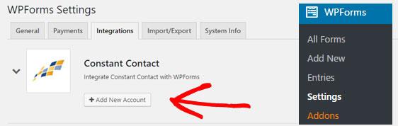constant contact integration in wpforms