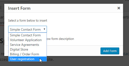publish user registration form