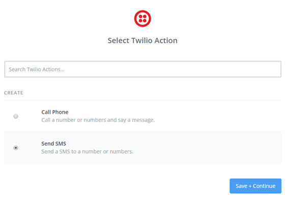 select twilio action in zapier