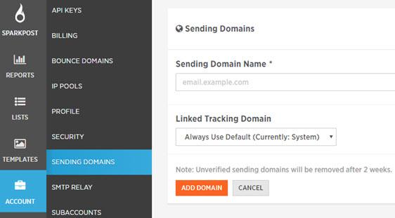 add sending domain in sparkpost