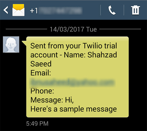 test SMS Text Message From Your WordPress Form