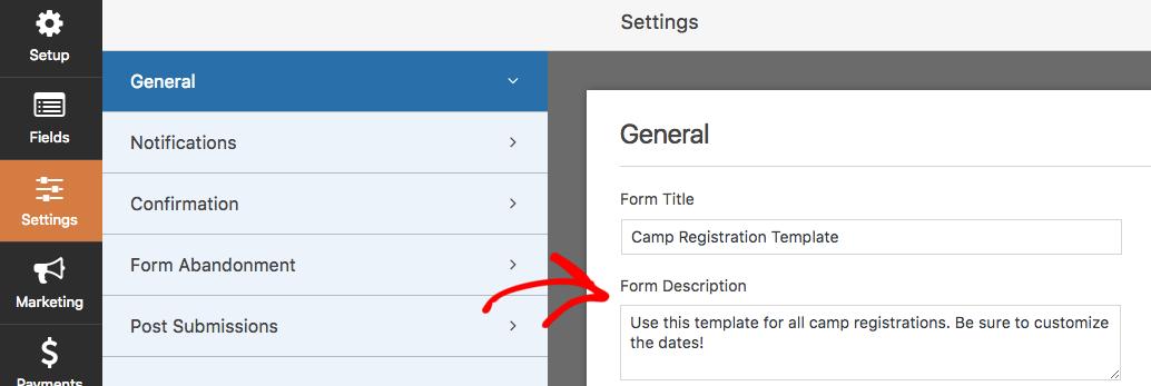Add a form description