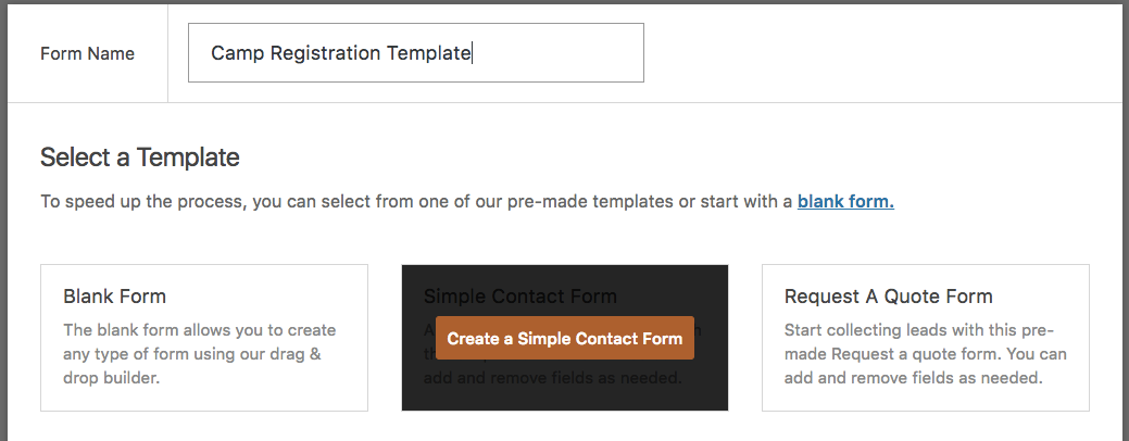 how to create a custom form template