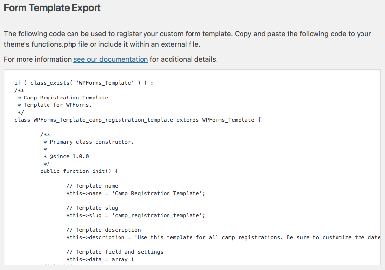 Form template export code