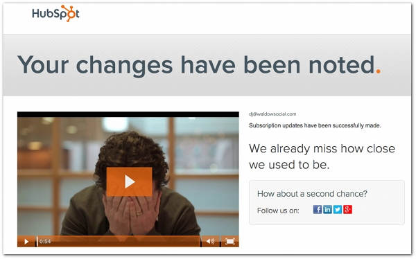 Hubspot best Unsubscribe page