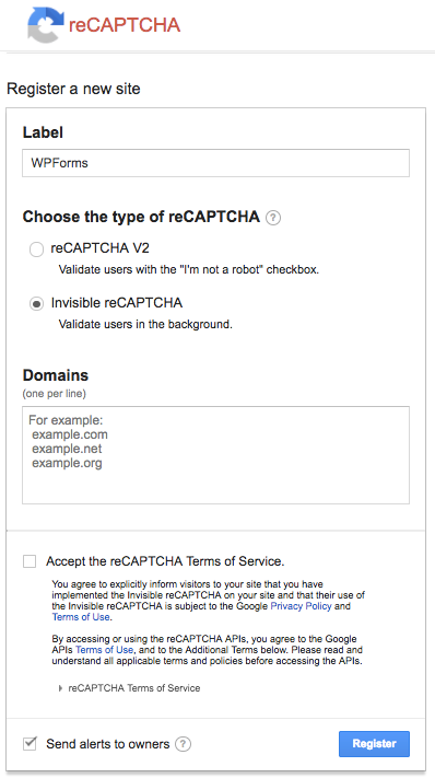 Register a new site with reCAPTCHA