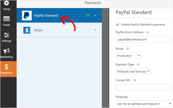 paypal payment settings