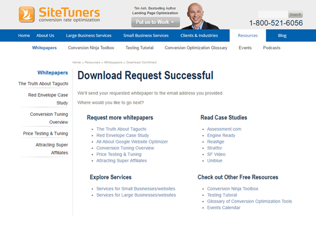 sitetuners thank you page example