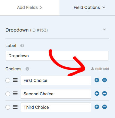 Dropdown Field Options