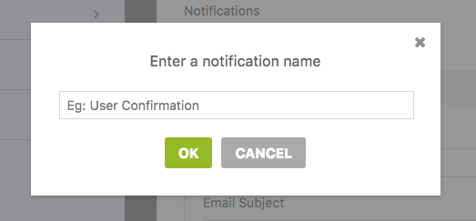 Enter a name for a new notification