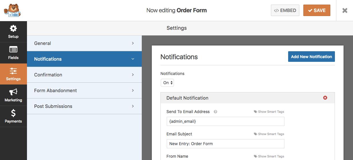 Notifications settings screen
