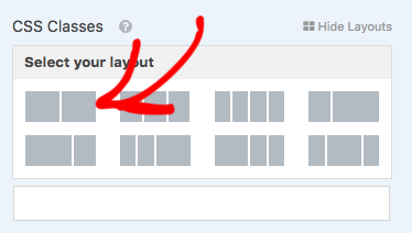 Select a field layout option
