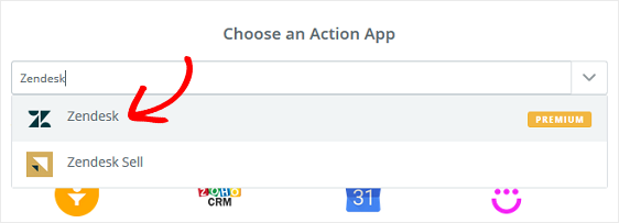 choose zendesk action app