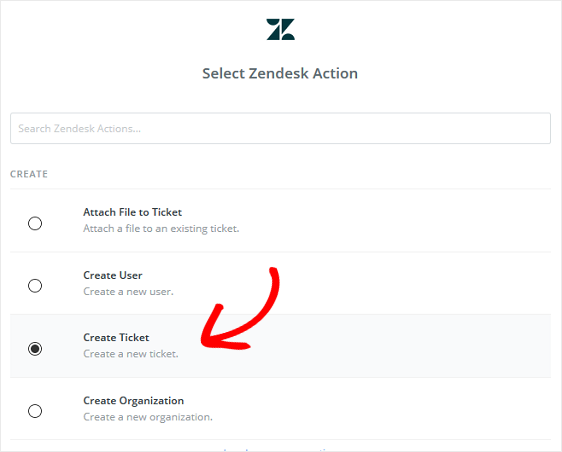 choose zendesk action