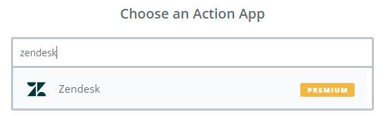 choose zendesk app in zapier